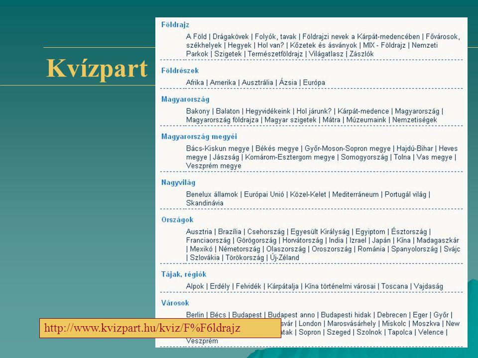 Kvízpart http://www.kvizpart.hu/kviz/F%F6ldrajz