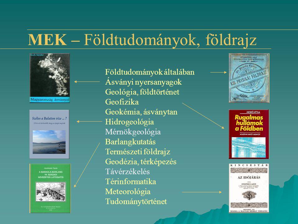 MEK – Földtudományok, földrajz Földtudományok általában Ásványi nyersanyagok Geológia, földtörténet Geofizika Geokémia, ásványtan Hidrogeológia Mérnök