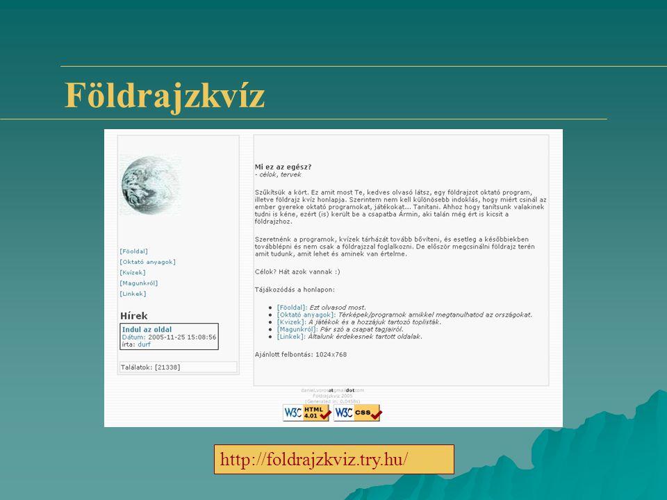 Földrajzkvíz http://foldrajzkviz.try.hu/