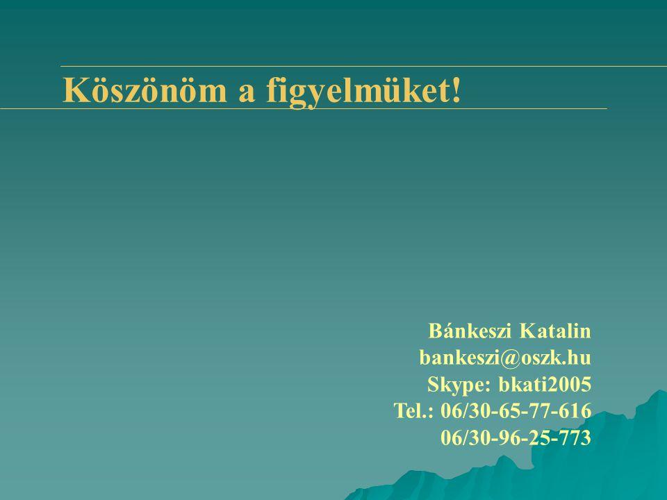 Köszönöm a figyelmüket! Bánkeszi Katalin bankeszi@oszk.hu Skype: bkati2005 Tel.: 06/30-65-77-616 06/30-96-25-773