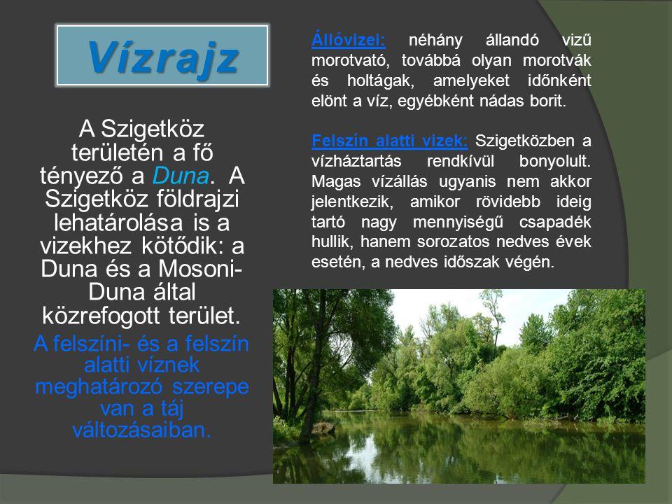 Vízrajz A Szigetköz területén a fő tényező a Duna. A Szigetköz földrajzi lehatárolása is a vizekhez kötődik: a Duna és a Mosoni- Duna által közrefogot