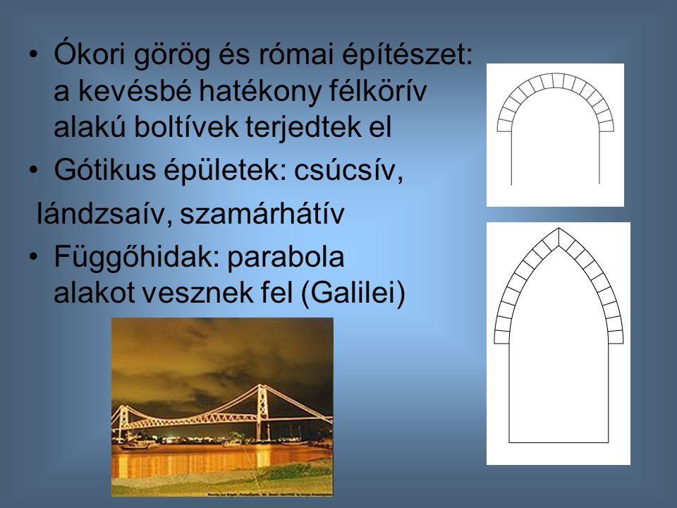 Ókori görög és római építészet: a kevésbé hatékony félkörív alakú boltívek terjedtek el Gótikus épületek: csúcsív, lándzsaív, szamárhátív Függőhidak:
