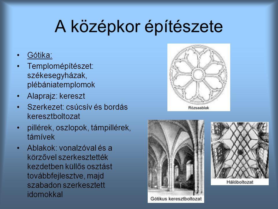 A középkor építészete Gótika: Templomépítészet: székesegyházak, plébániatemplomok Alaprajz: kereszt Szerkezet: csúcsív és bordás keresztboltozat pillé