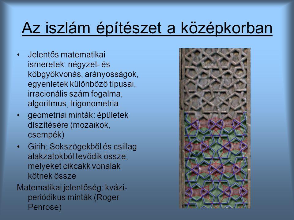 Az iszlám építészet a középkorban Jelentős matematikai ismeretek: négyzet- és köbgyökvonás, arányosságok, egyenletek különböző típusai, irracionális s