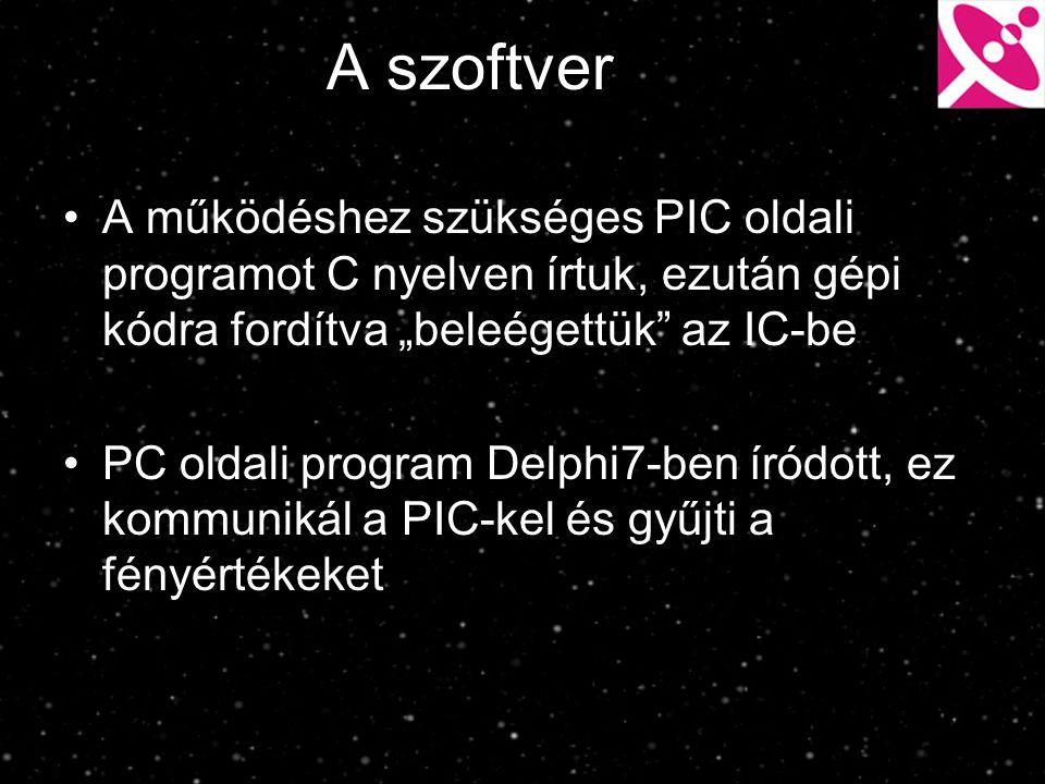 """A szoftver A működéshez szükséges PIC oldali programot C nyelven írtuk, ezután gépi kódra fordítva """"beleégettük"""" az IC-be PC oldali program Delphi7-be"""