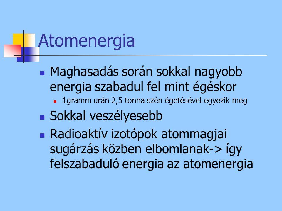 Atomenergia Maghasadás során sokkal nagyobb energia szabadul fel mint égéskor 1gramm urán 2,5 tonna szén égetésével egyezik meg Sokkal veszélyesebb Ra