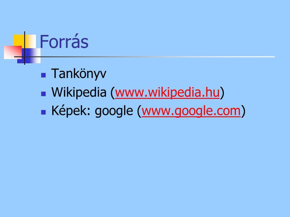 Forrás Tankönyv Wikipedia (www.wikipedia.hu)www.wikipedia.hu Képek: google (www.google.com)www.google.com