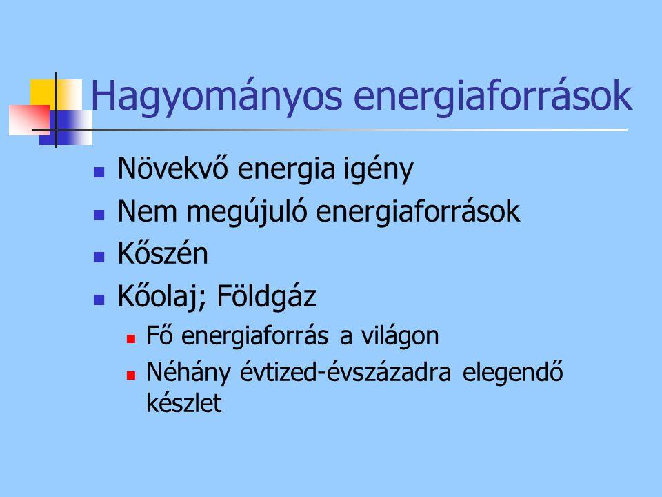 Hagyományos energiaforrások Növekvő energia igény Nem megújuló energiaforrások Kőszén Kőolaj; Földgáz Fő energiaforrás a világon Néhány évtized-évszáz