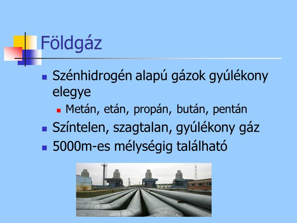 Földgáz Szénhidrogén alapú gázok gyúlékony elegye Metán, etán, propán, bután, pentán Színtelen, szagtalan, gyúlékony gáz 5000m-es mélységig található