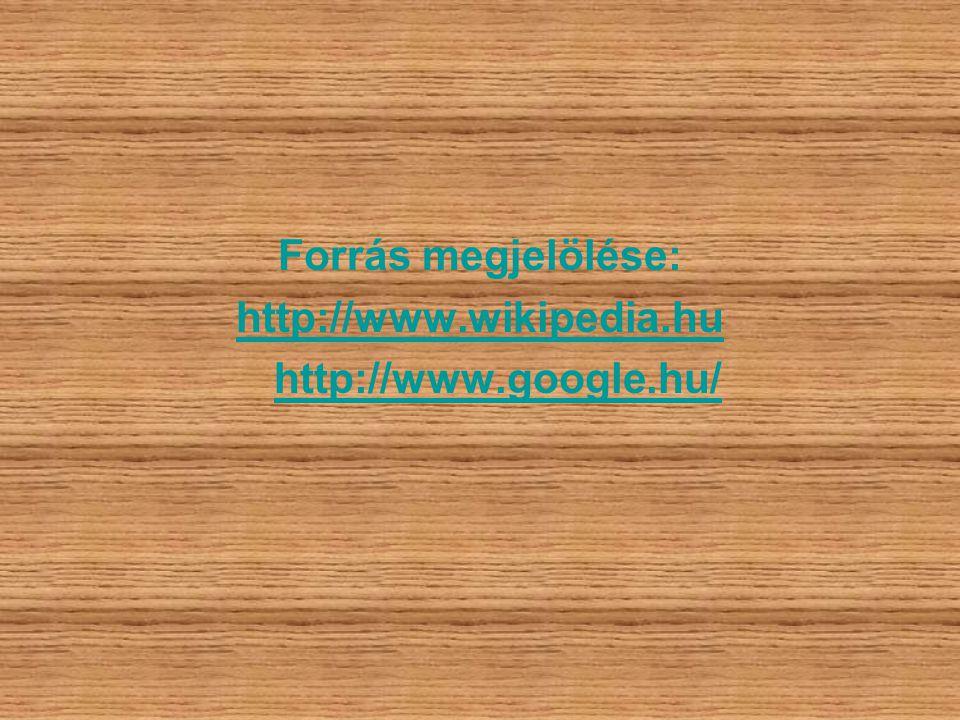 Forrás megjelölése: http://www.wikipedia.hu http://www.google.hu/
