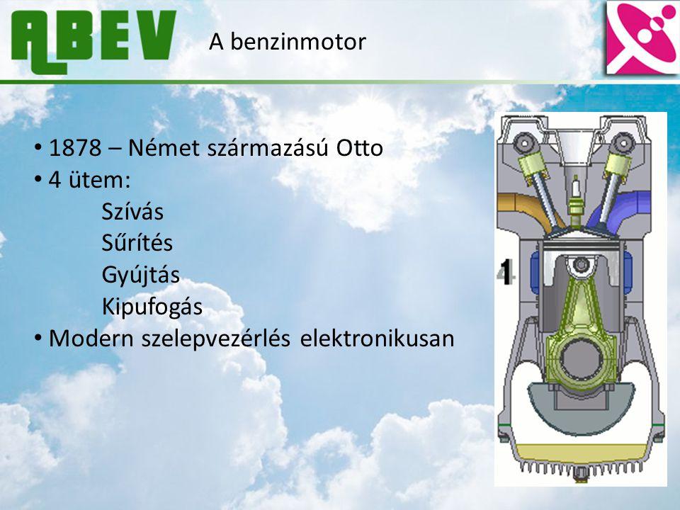 A benzinmotor 1878 – Német származású Otto 4 ütem: Szívás Sűrítés Gyújtás Kipufogás Modern szelepvezérlés elektronikusan