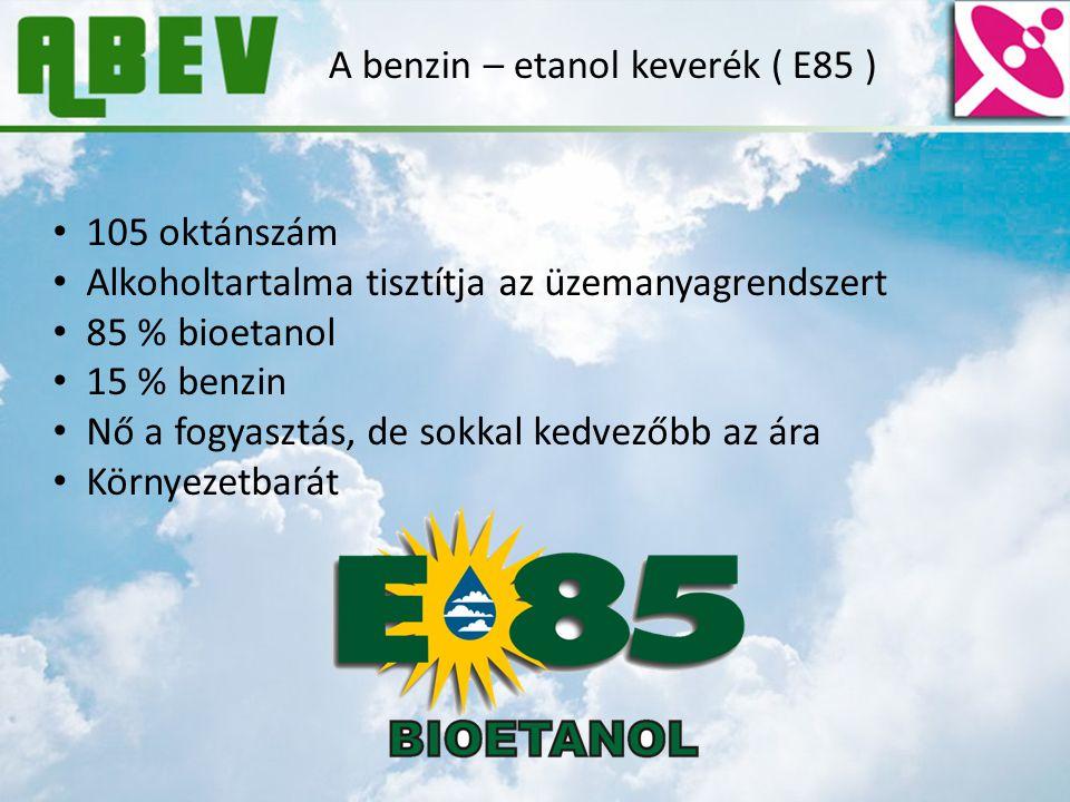 A benzin – etanol keverék ( E85 ) 105 oktánszám Alkoholtartalma tisztítja az üzemanyagrendszert 85 % bioetanol 15 % benzin Nő a fogyasztás, de sokkal
