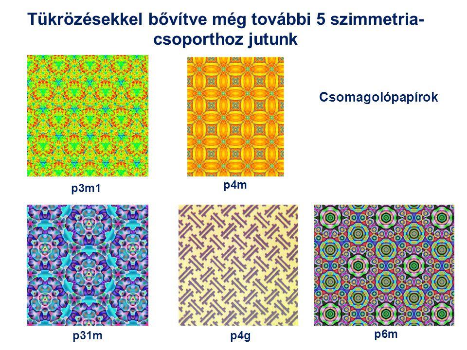 Tükrözésekkel bővítve még további 5 szimmetria- csoporthoz jutunk p3m1 p4m p6m p31mp4g Csomagolópapírok