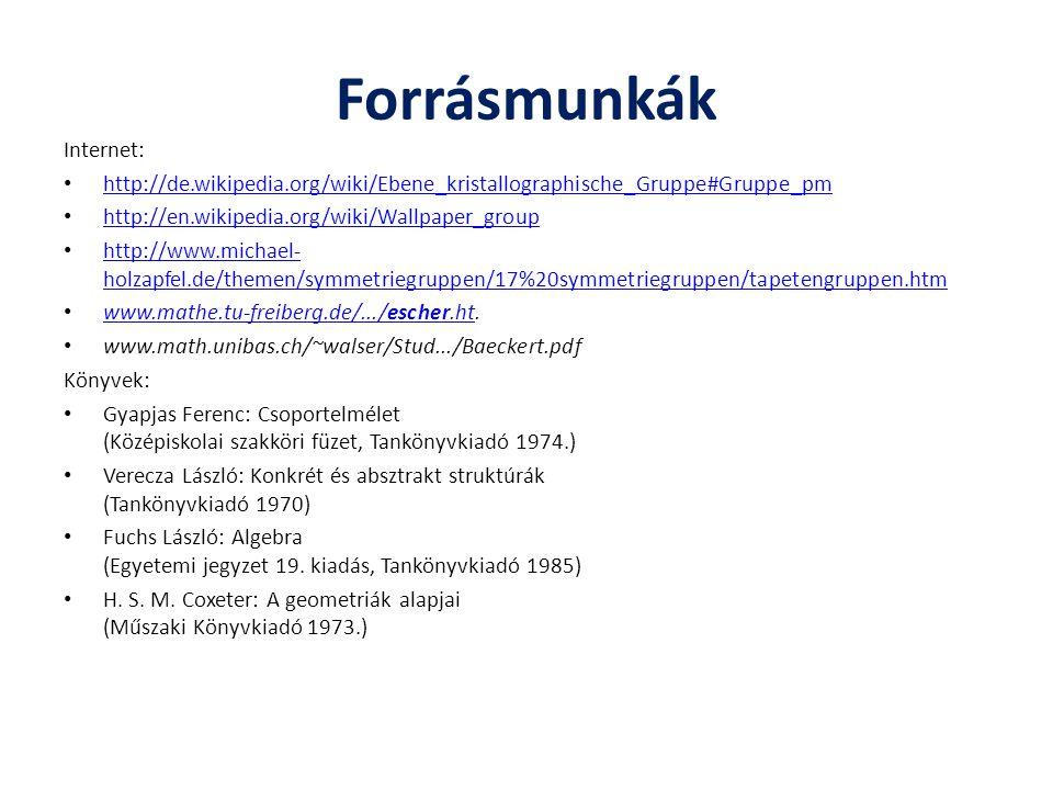 Forrásmunkák Internet: http://de.wikipedia.org/wiki/Ebene_kristallographische_Gruppe#Gruppe_pm http://en.wikipedia.org/wiki/Wallpaper_group http://www