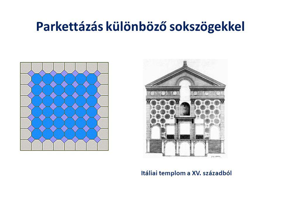 Parkettázás különböző sokszögekkel Itáliai templom a XV. századból