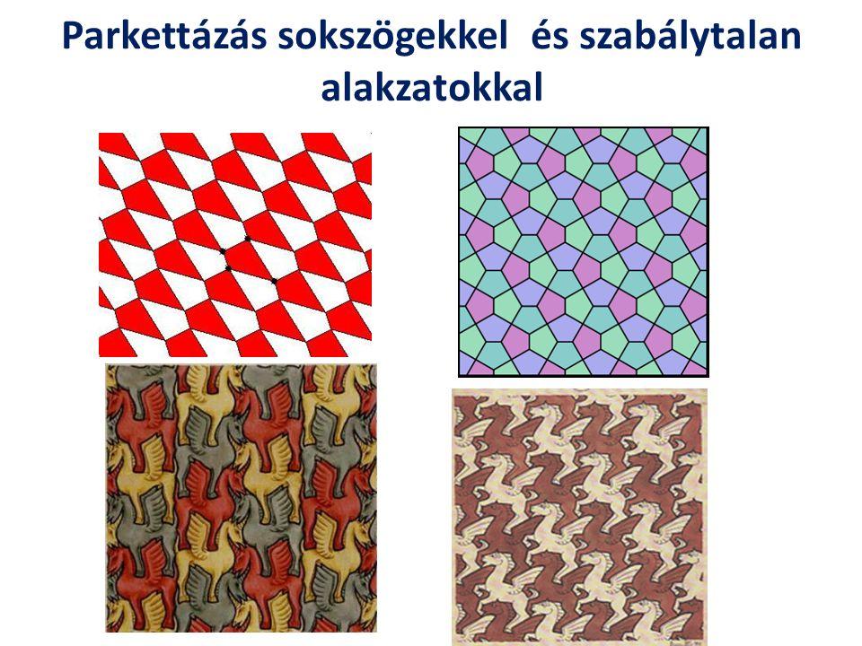 Transzformációk, szimmetria műveletek Azok a szimmetriaműveletek (egybevágósági transzformáck), amelyek a sík egy parkettázását önmagába viszik át, a kompozíció műveletével algebrai csoportot alkotnak.