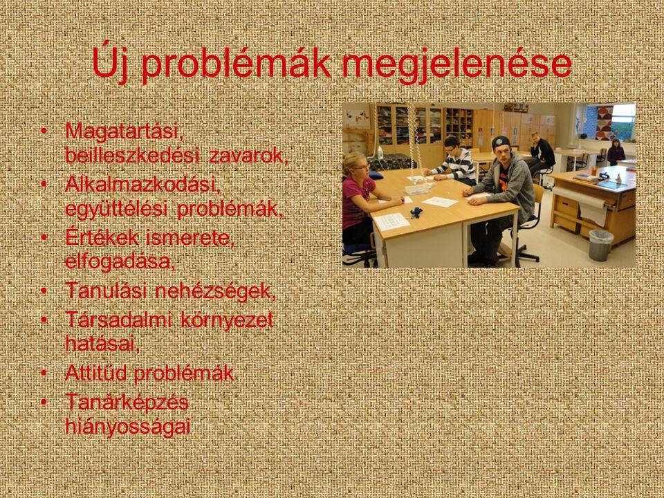 Új problémák megjelenése Magatartási, beilleszkedési zavarok, Alkalmazkodási, együttélési problémák, Értékek ismerete, elfogadása, Tanulási nehézségek