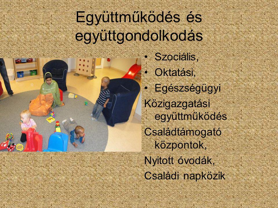 Együttműködés és együttgondolkodás Szociális, Oktatási, Egészségügyi Közigazgatási együttműködés Családtámogató központok, Nyitott óvodák, Családi napközik