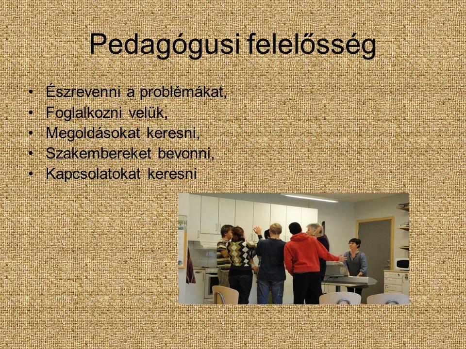 Pedagógusi felelősség Észrevenni a problémákat, Foglalkozni velük, Megoldásokat keresni, Szakembereket bevonni, Kapcsolatokat keresni