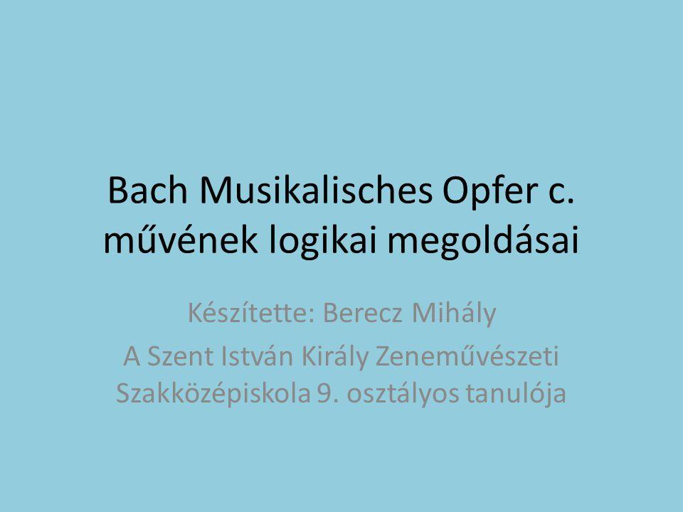 Bach Musikalisches Opfer c.