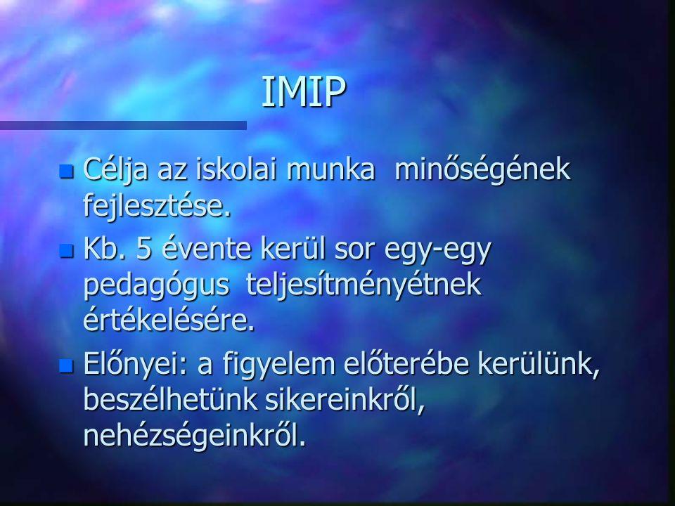 IMIP n Célja az iskolai munka minőségének fejlesztése. n Kb. 5 évente kerül sor egy-egy pedagógus teljesítményétnek értékelésére. n Előnyei: a figyele