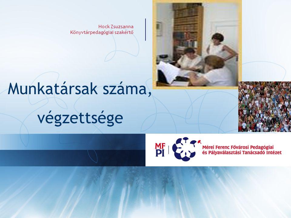 Hock Zsuzsanna Könyvtárpedagógiai szakértő Munkatársak száma, végzettsége