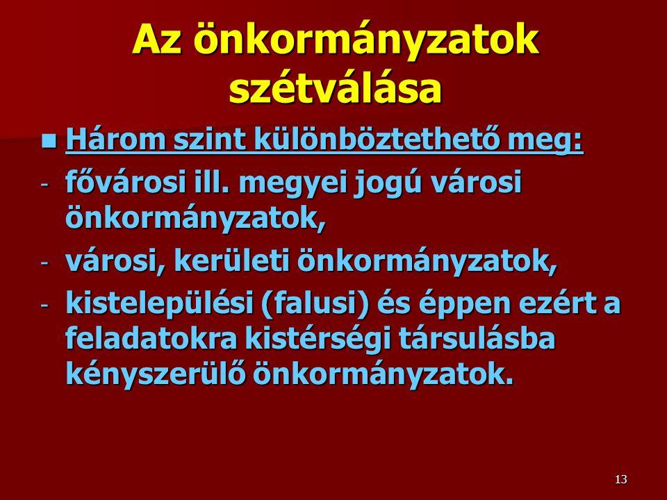 Az önkormányzatok szétválása Három szint különböztethető meg: Három szint különböztethető meg: - fővárosi ill.