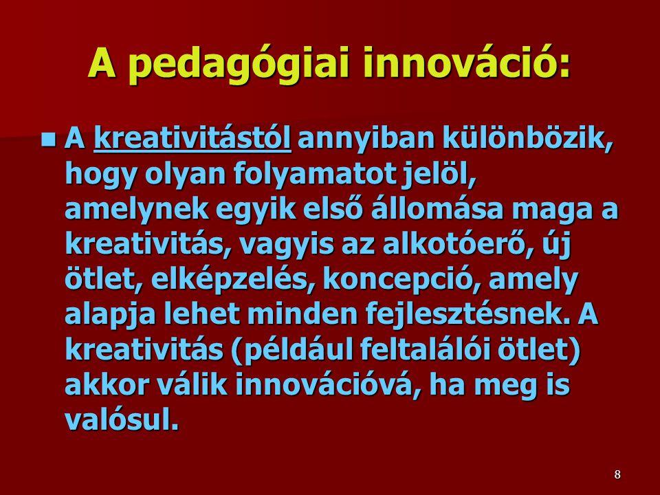 A pedagógiai innováció: A kreativitástól annyiban különbözik, hogy olyan folyamatot jelöl, amelynek egyik első állomása maga a kreativitás, vagyis az alkotóerő, új ötlet, elképzelés, koncepció, amely alapja lehet minden fejlesztésnek.