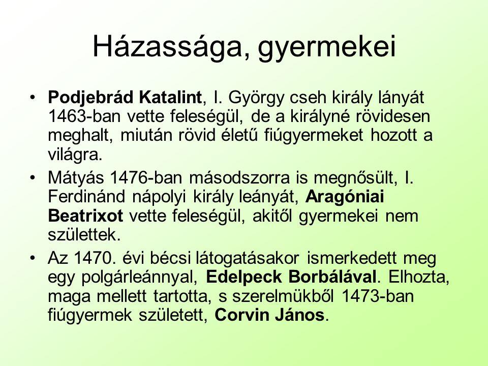 Házassága, gyermekei Podjebrád Katalint, I.