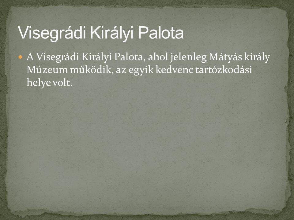 A Visegrádi Királyi Palota, ahol jelenleg Mátyás király Múzeum működik, az egyik kedvenc tartózkodási helye volt.