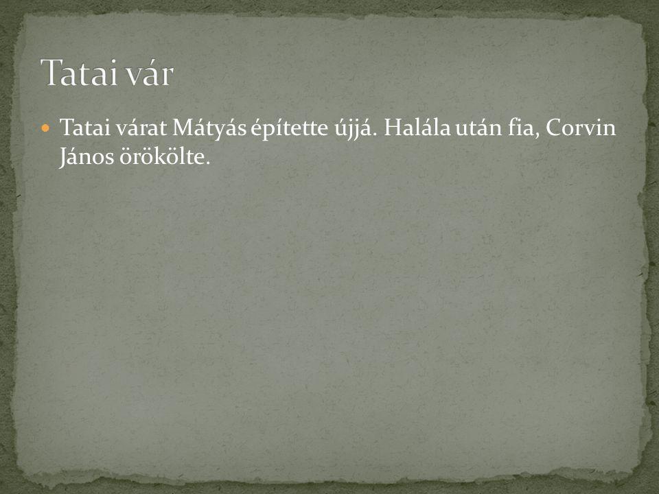 Tatai várat Mátyás építette újjá. Halála után fia, Corvin János örökölte.