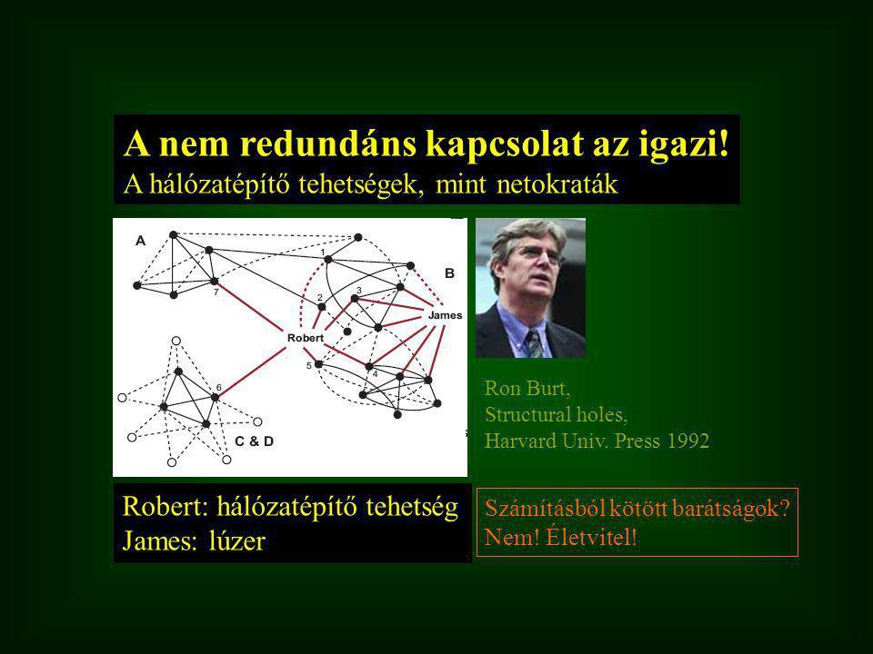 Robert: hálózatépítő tehetség James: lúzer A nem redundáns kapcsolat az igazi.