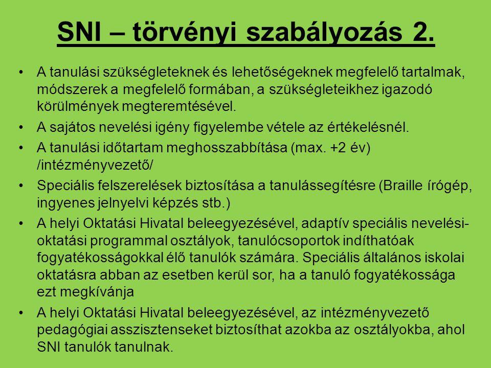 SNI – törvényi szabályozás 2. A tanulási szükségleteknek és lehetőségeknek megfelelő tartalmak, módszerek a megfelelő formában, a szükségleteikhez iga