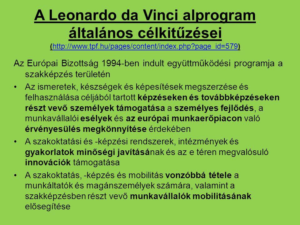 A Leonardo da Vinci alprogram általános célkitűzései (http://www.tpf.hu/pages/content/index.php?page_id=579)http://www.tpf.hu/pages/content/index.php?