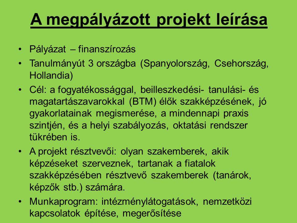 A megpályázott projekt leírása Pályázat – finanszírozás Tanulmányút 3 országba (Spanyolország, Csehország, Hollandia) Cél: a fogyatékossággal, beilles