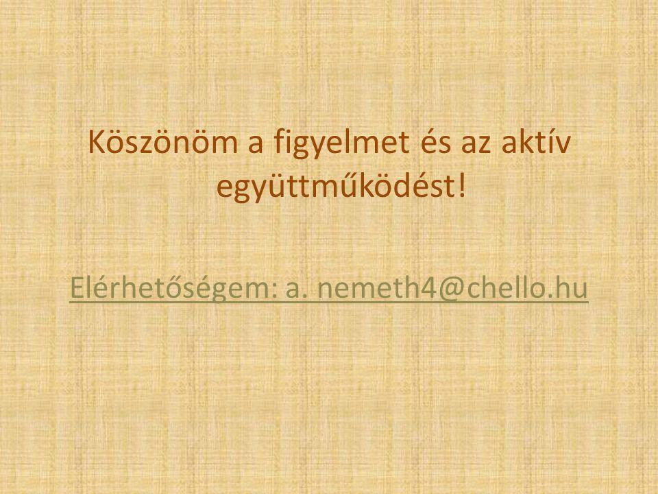Köszönöm a figyelmet és az aktív együttműködést! Elérhetőségem: a. nemeth4@chello.hu