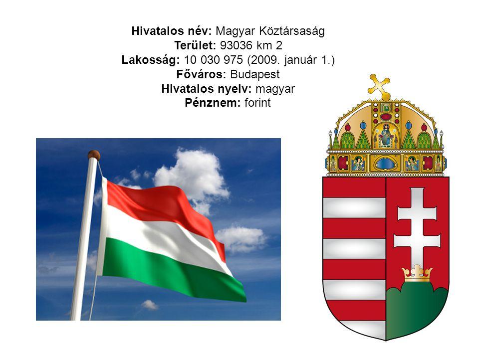 Hivatalos név: Magyar Köztársaság Terület: 93036 km 2 Lakosság: 10 030 975 (2009. január 1.) Főváros: Budapest Hivatalos nyelv: magyar Pénznem: forint