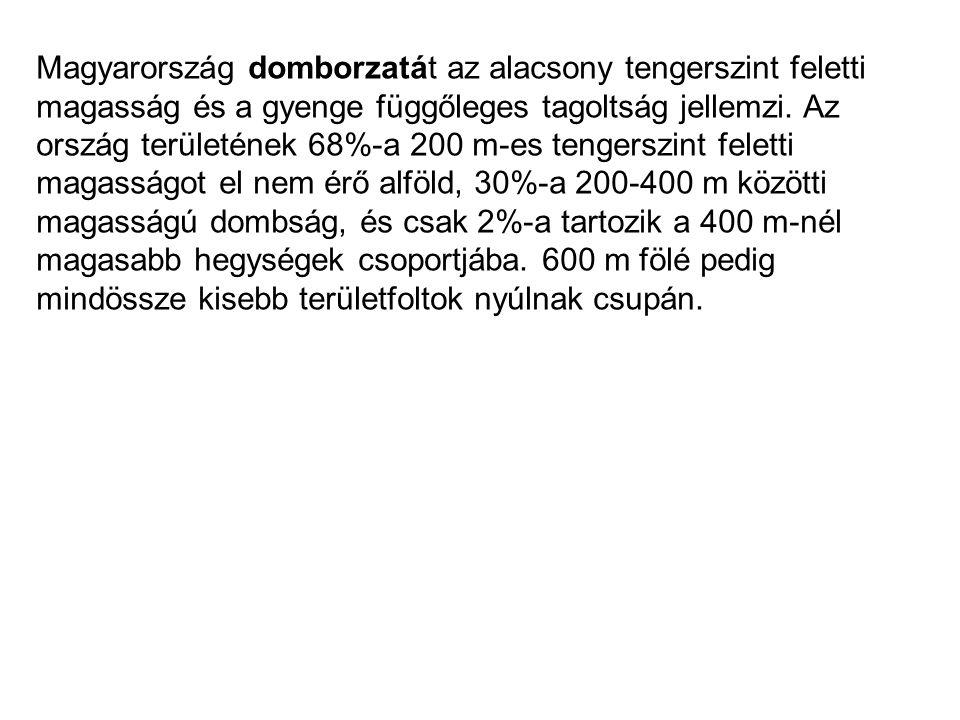 Magyarország domborzatát az alacsony tengerszint feletti magasság és a gyenge függőleges tagoltság jellemzi. Az ország területének 68%-a 200 m-es teng