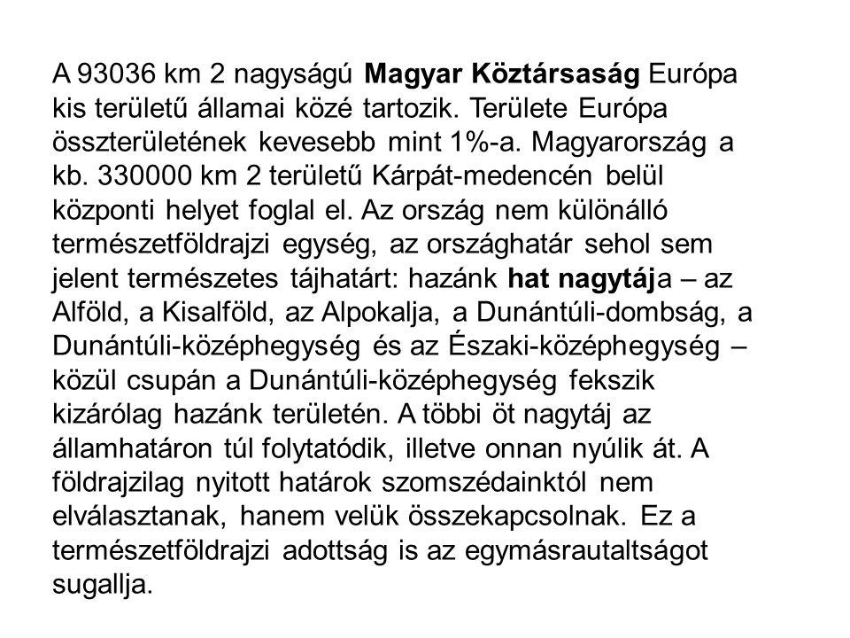 A 93036 km 2 nagyságú Magyar Köztársaság Európa kis területű államai közé tartozik. Területe Európa összterületének kevesebb mint 1%-a. Magyarország a