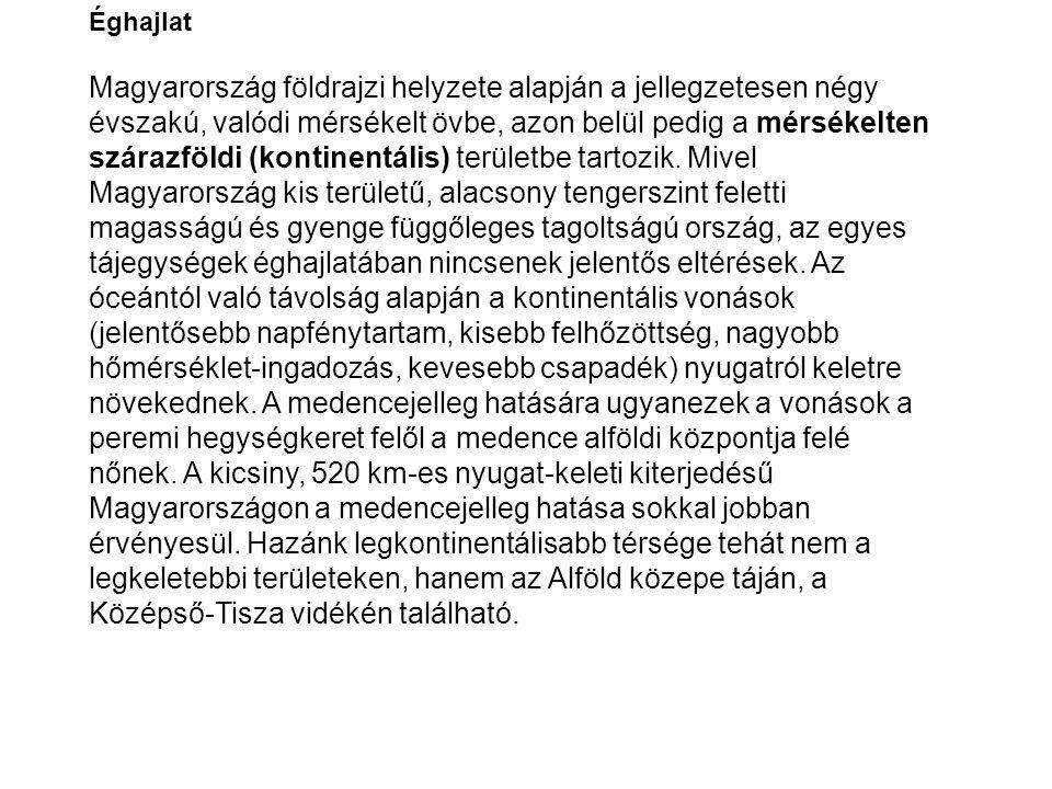 Éghajlat Magyarország földrajzi helyzete alapján a jellegzetesen négy évszakú, valódi mérsékelt övbe, azon belül pedig a mérsékelten szárazföldi (kont