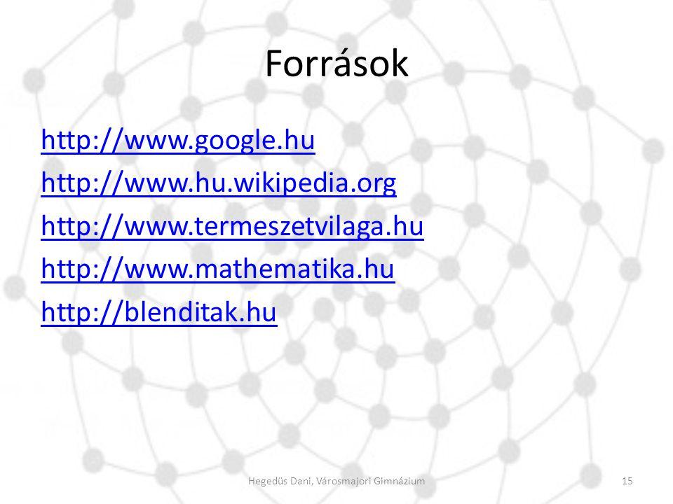 Források http://www.google.hu http://www.hu.wikipedia.org http://www.termeszetvilaga.hu http://www.mathematika.hu http://blenditak.hu 15Hegedüs Dani,