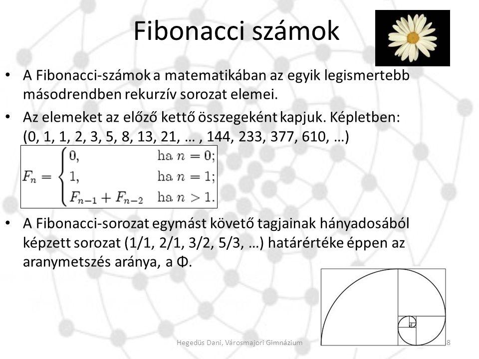 Fibonacci számok A Fibonacci-számok a matematikában az egyik legismertebb másodrendben rekurzív sorozat elemei. Az elemeket az előző kettő összegeként