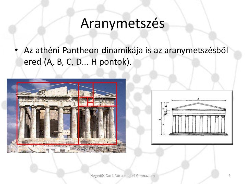 Aranymetszés Az athéni Pantheon dinamikája is az aranymetszésből ered (A, B, C, D... H pontok). 9Hegedüs Dani, Városmajori Gimnázium