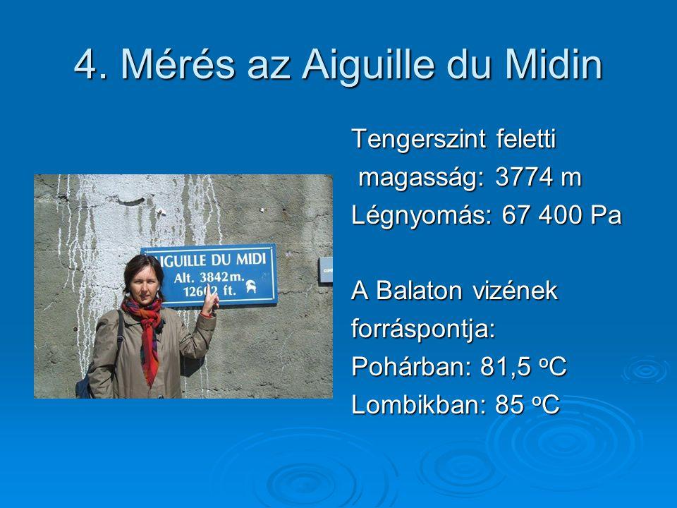 4. Mérés az Aiguille du Midin Tengerszint feletti magasság: 3774 m magasság: 3774 m Légnyomás: 67 400 Pa A Balaton vizének forráspontja: Pohárban: 81,