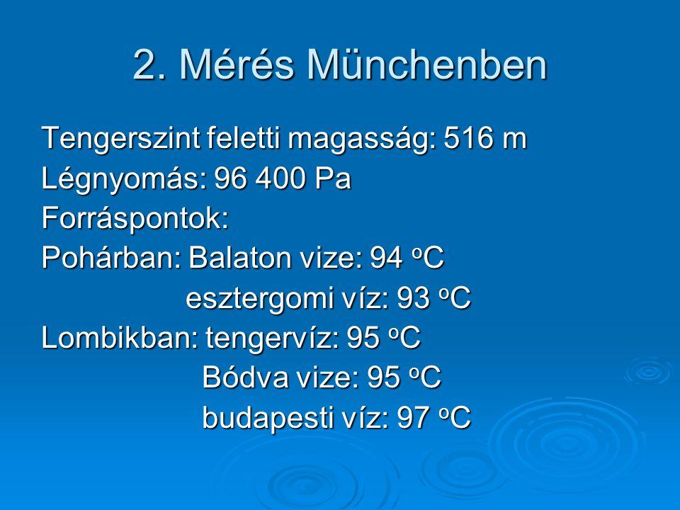 2. Mérés Münchenben Tengerszint feletti magasság: 516 m Légnyomás: 96 400 Pa Forráspontok: Pohárban: Balaton vize: 94 oC esztergomi víz: 93 oC Lombikb