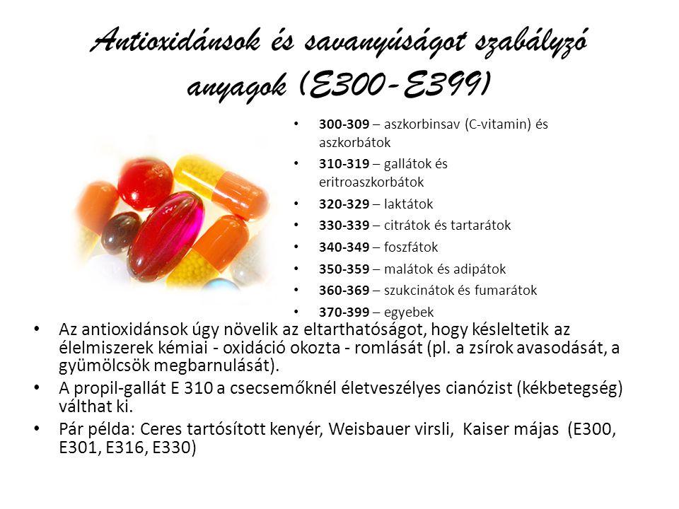 Antioxidánsok és savanyúságot szabályzó anyagok (E300-E399) 300-309 – aszkorbinsav (C-vitamin) és aszkorbátok 310-319 – gallátok és eritroaszkorbátok 320-329 – laktátok 330-339 – citrátok és tartarátok 340-349 – foszfátok 350-359 – malátok és adipátok 360-369 – szukcinátok és fumarátok 370-399 – egyebek Az antioxidánsok úgy növelik az eltarthatóságot, hogy késleltetik az élelmiszerek kémiai - oxidáció okozta - romlását (pl.