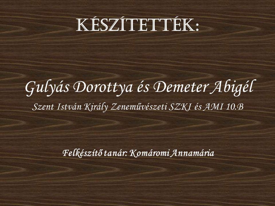 Készítették: Gulyás Dorottya és Demeter Abigél Szent István Király Zeneművészeti SZKI és AMI 10.B Felkészítő tanár: Komáromi Annamária
