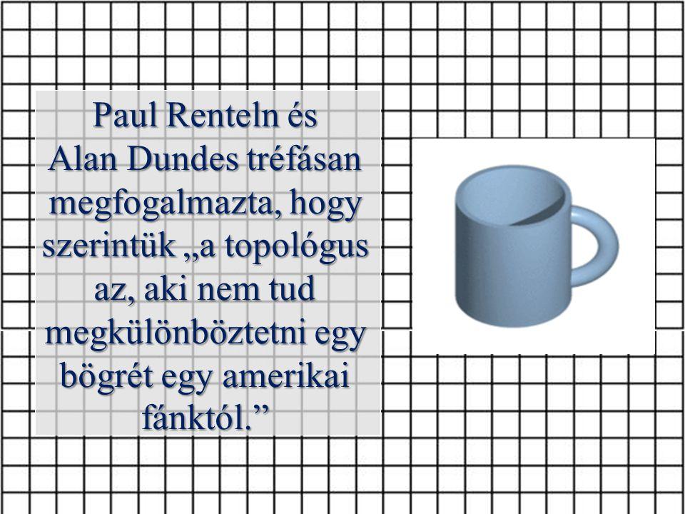 """Paul Renteln és Alan Dundes tréfásan megfogalmazta, hogy szerintük """"a topológus az, aki nem tud megkülönböztetni egy bögrét egy amerikai fánktól."""""""