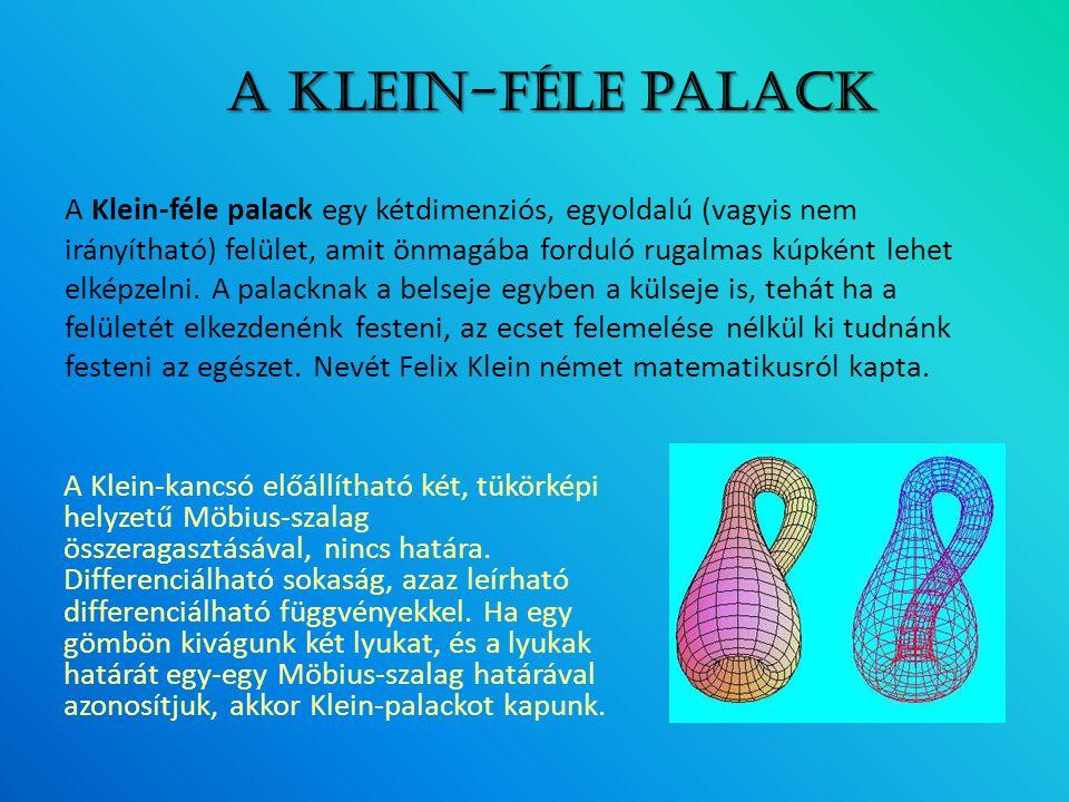 A Klein-féle palack egy kétdimenziós, egyoldalú (vagyis nem irányítható) felület, amit önmagába forduló rugalmas kúpként lehet elképzelni. A palacknak