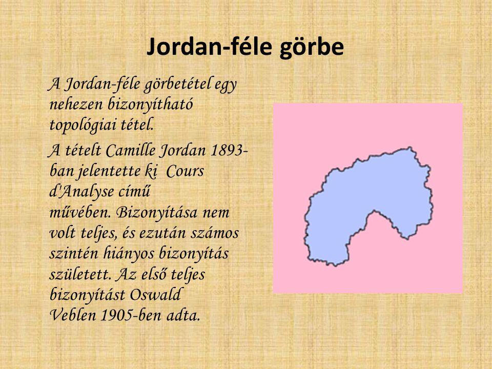 Jordan-féle görbe A Jordan-féle görbetétel egy nehezen bizonyítható topológiai tétel. A tételt Camille Jordan 1893- ban jelentette ki Cours d'Analyse